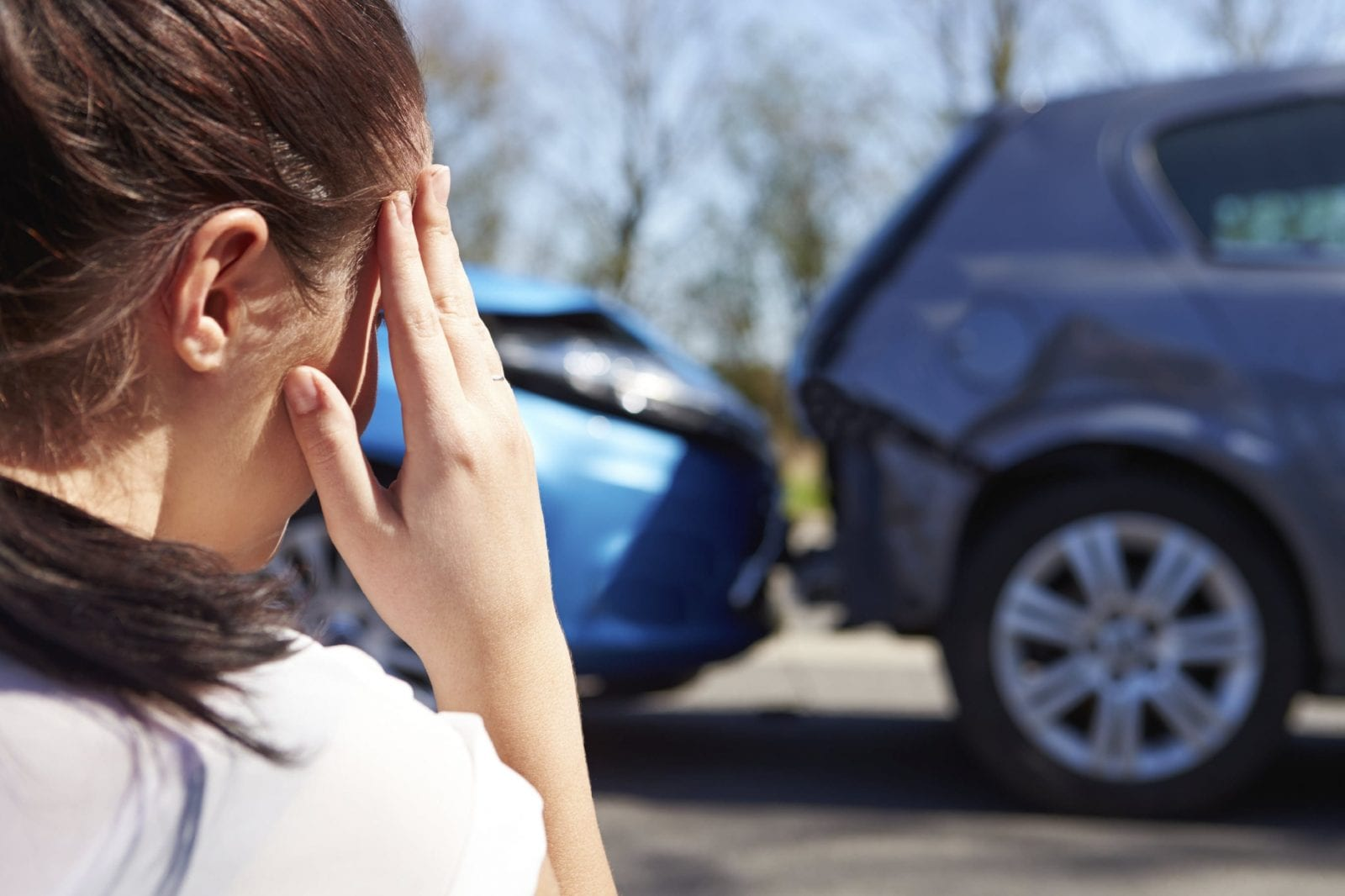 Woman Involved In Car Crash Stock Photo