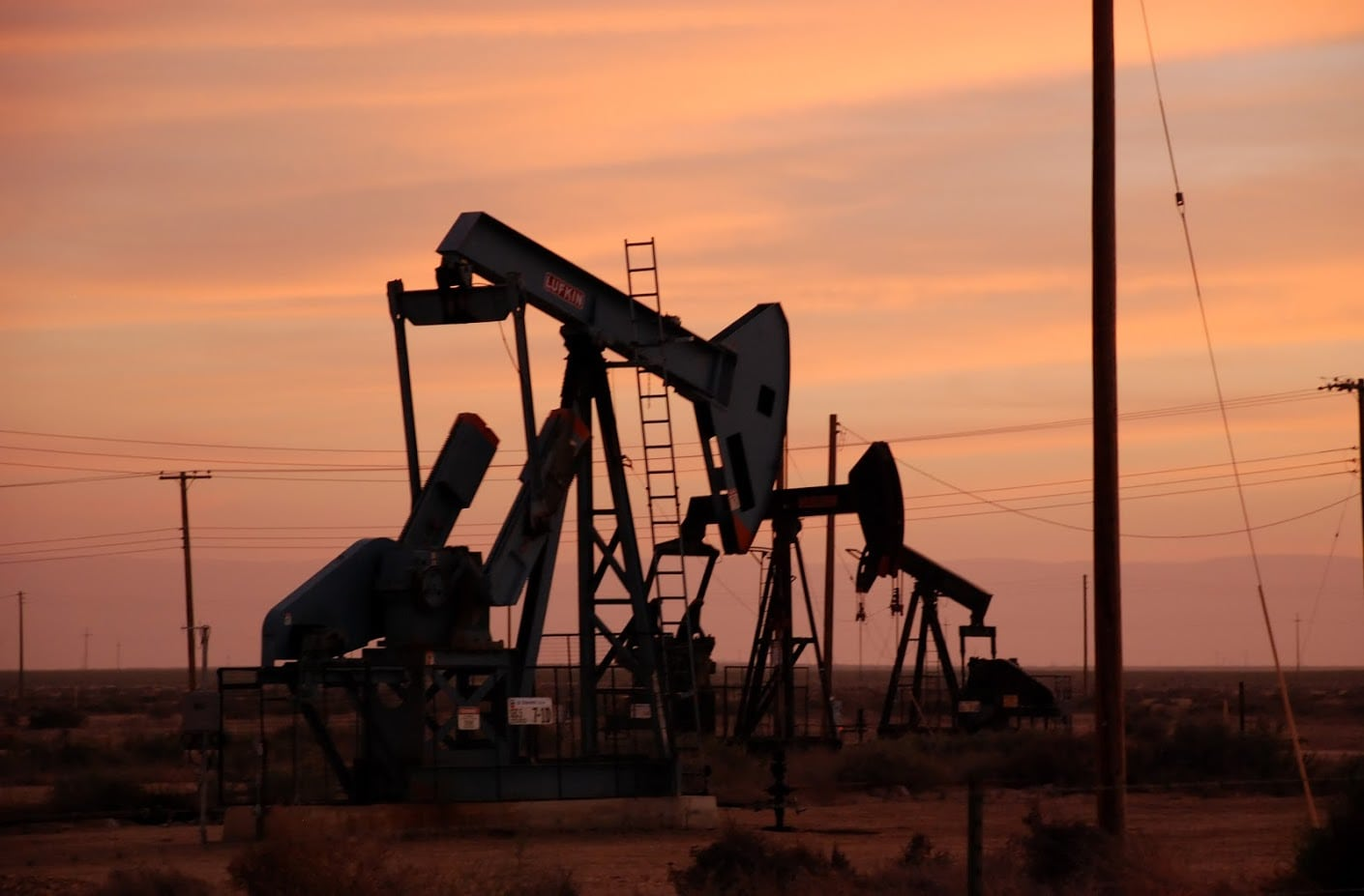 Group Of Oil Pumps In Texas Stock Photo