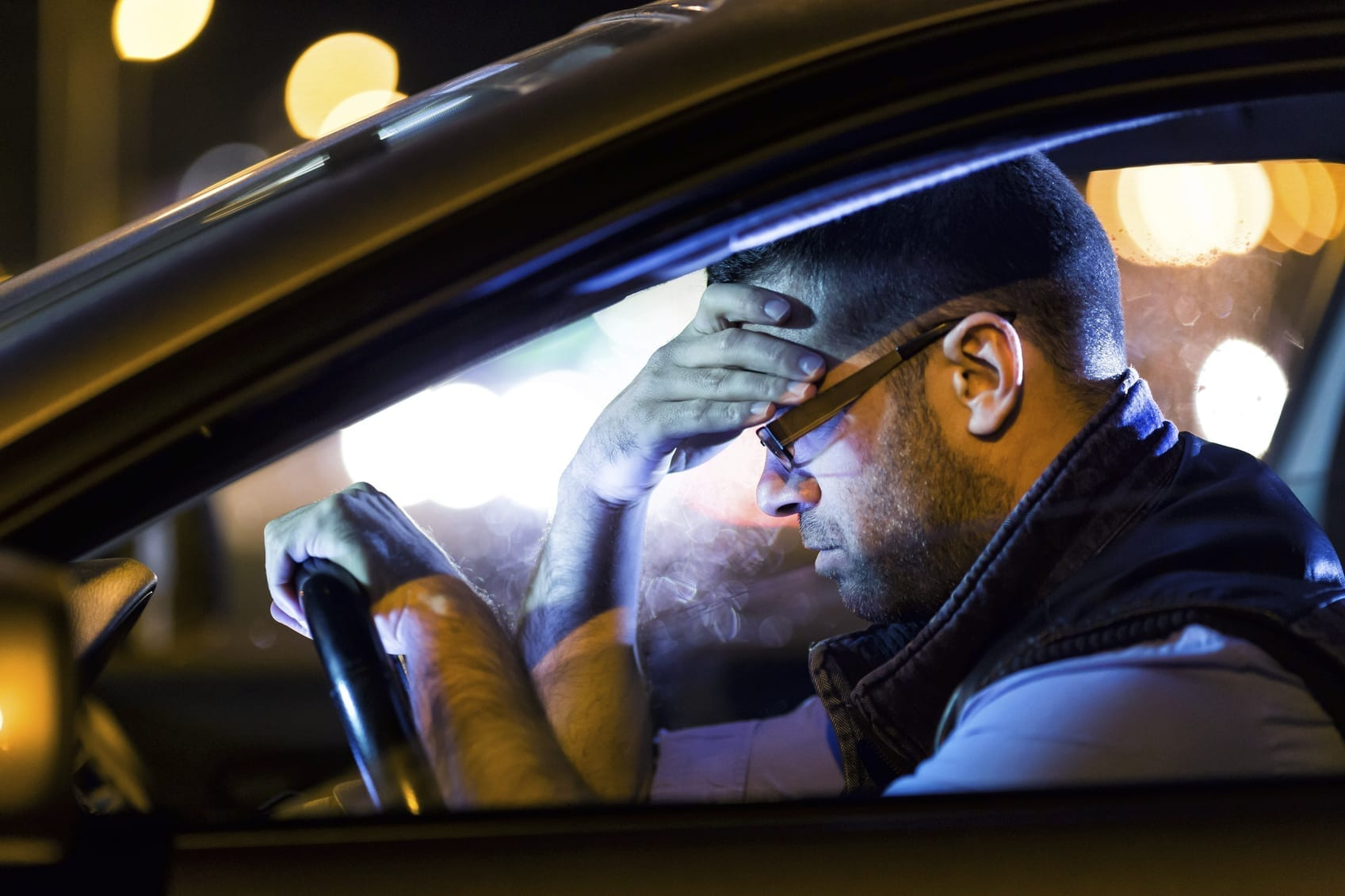 Man Stressed After Car Accident Stock Photo