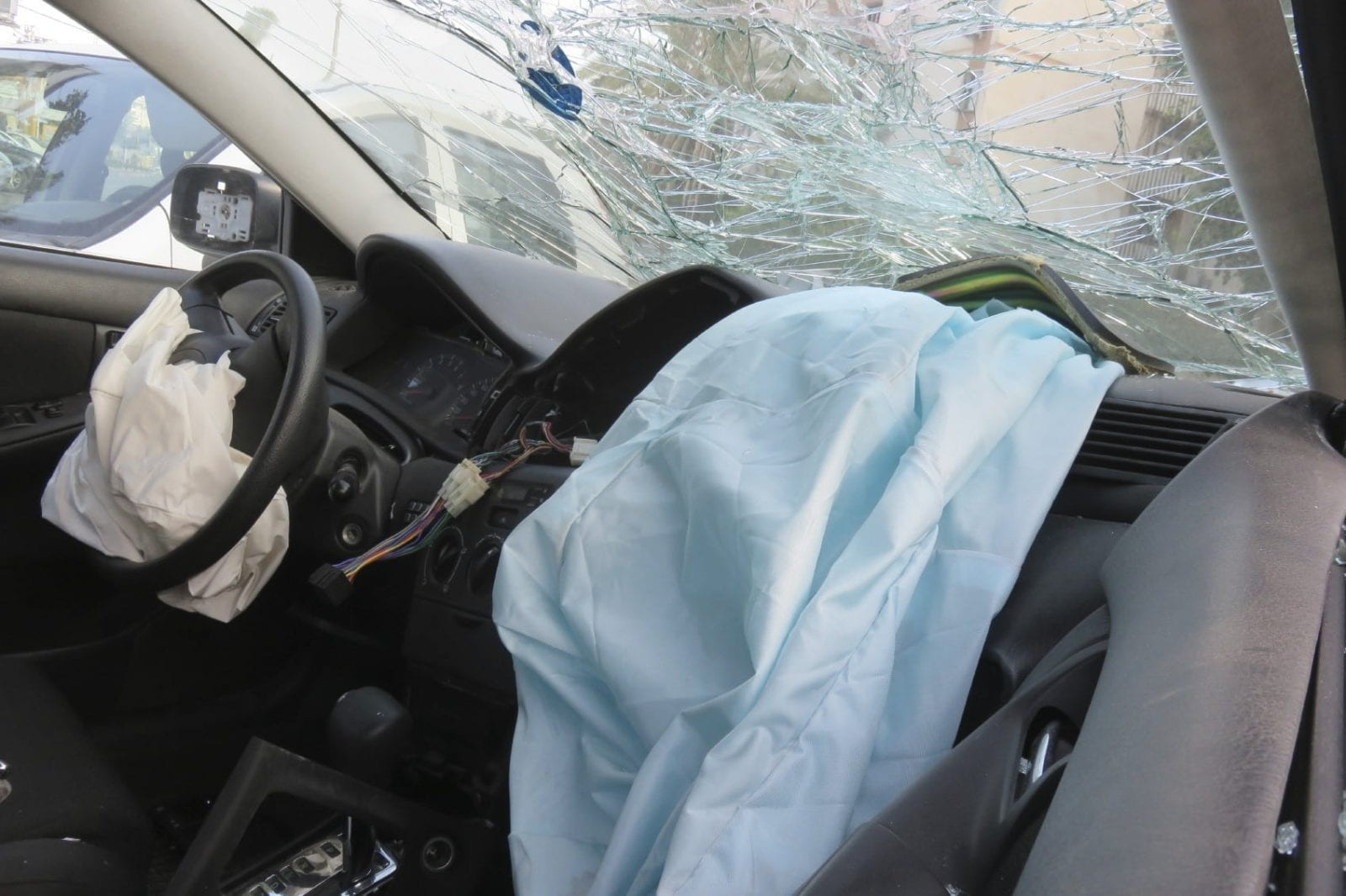 Airbag Car Accident Stock Photo