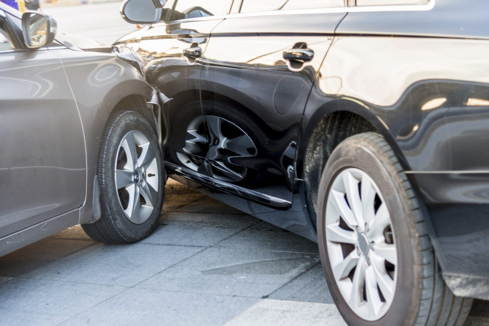 Car Accident - Side Damage Stock Photo