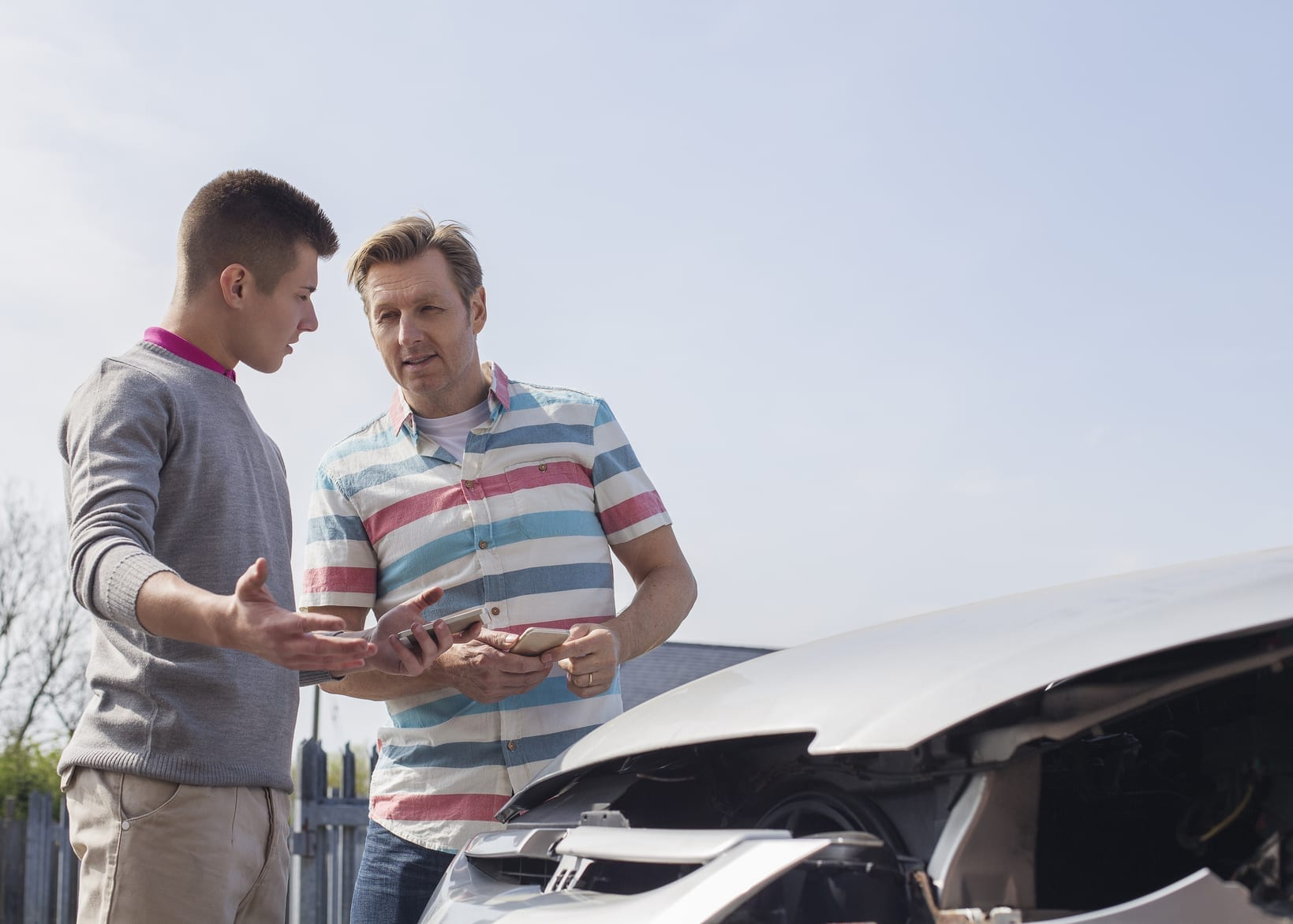 Two Men After A Car Accident Stock Photo