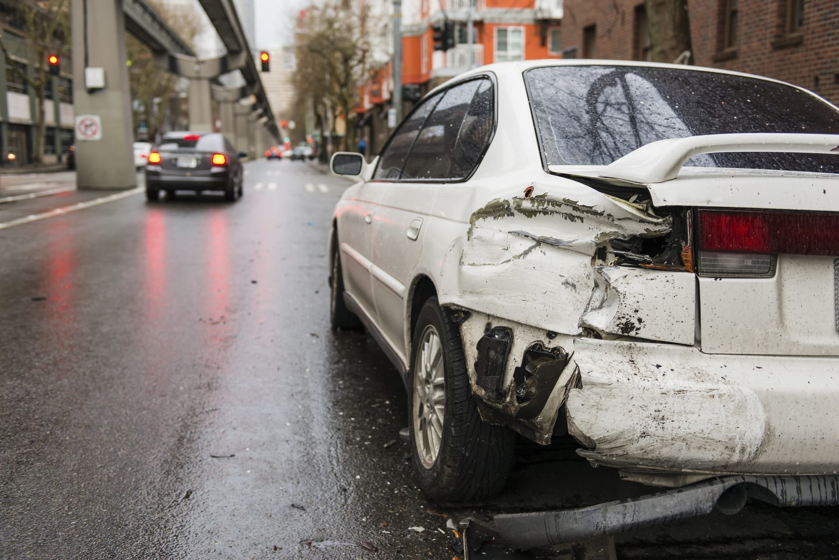 Hit And Run Car Accident Stock Photo