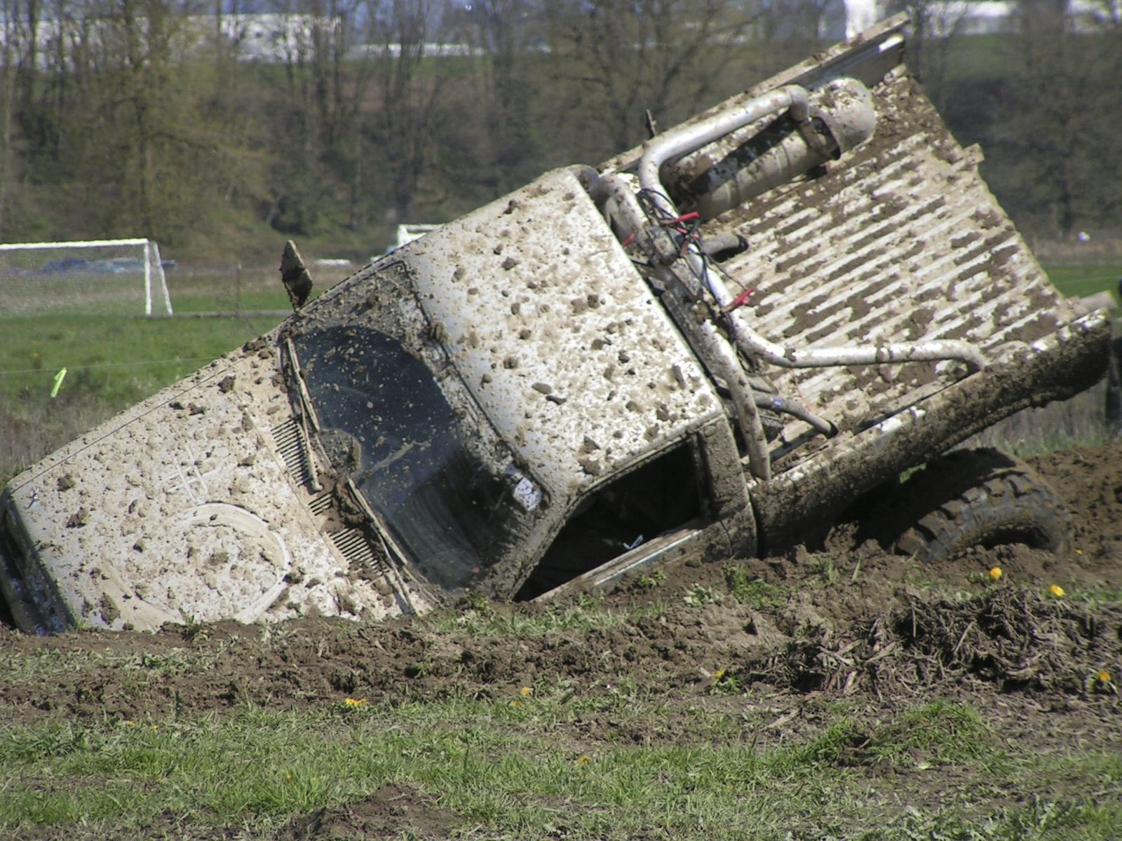 Truck Stuck In A Ditch Stock Photo. Odessa Car Accident Lawyer Discusses Crash Near Blue Spring