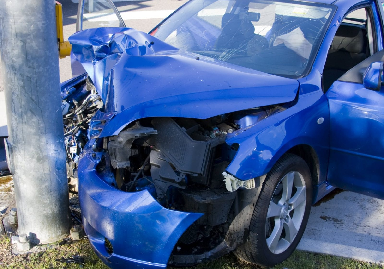 Car Hitting Pole Stock Photo. Auto Accident Attorney Discusses Wreck Near Andrews