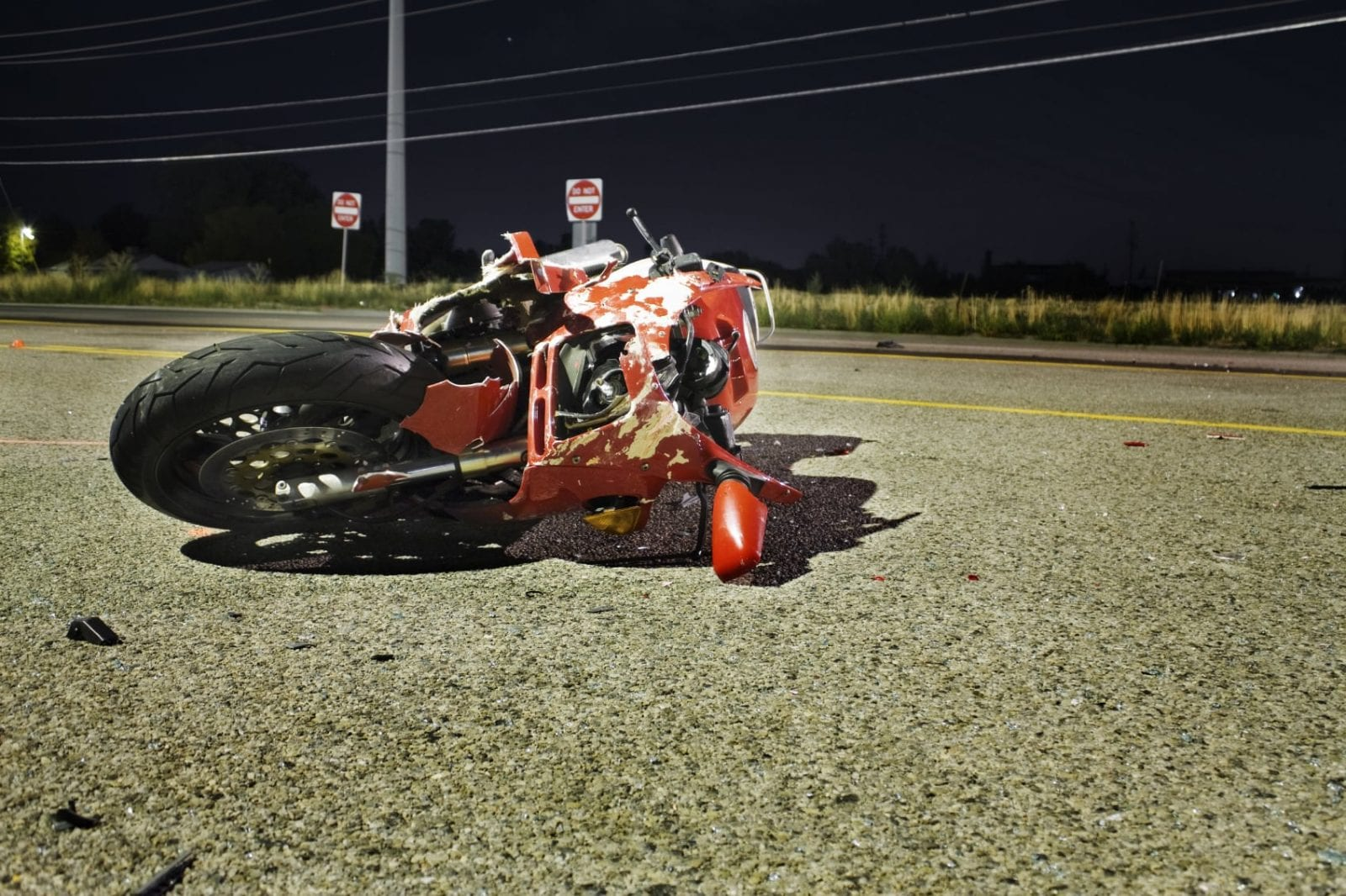 Motorcycle Accident Stock Photo. Odessa Personal Injury Lawyer Discusses Crash Involving Semi And Motorcycle