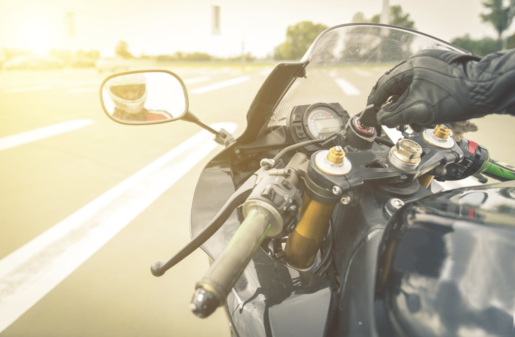 Motorcycle Rider Starting Ignition Stock Photo