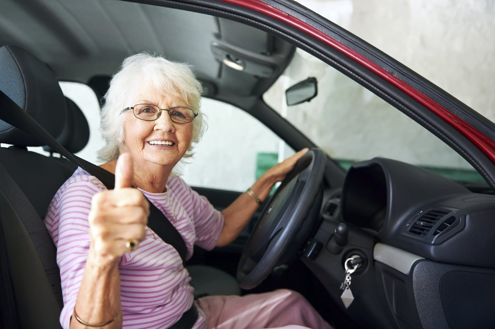 Elderly Grandma Driving Stock Photo