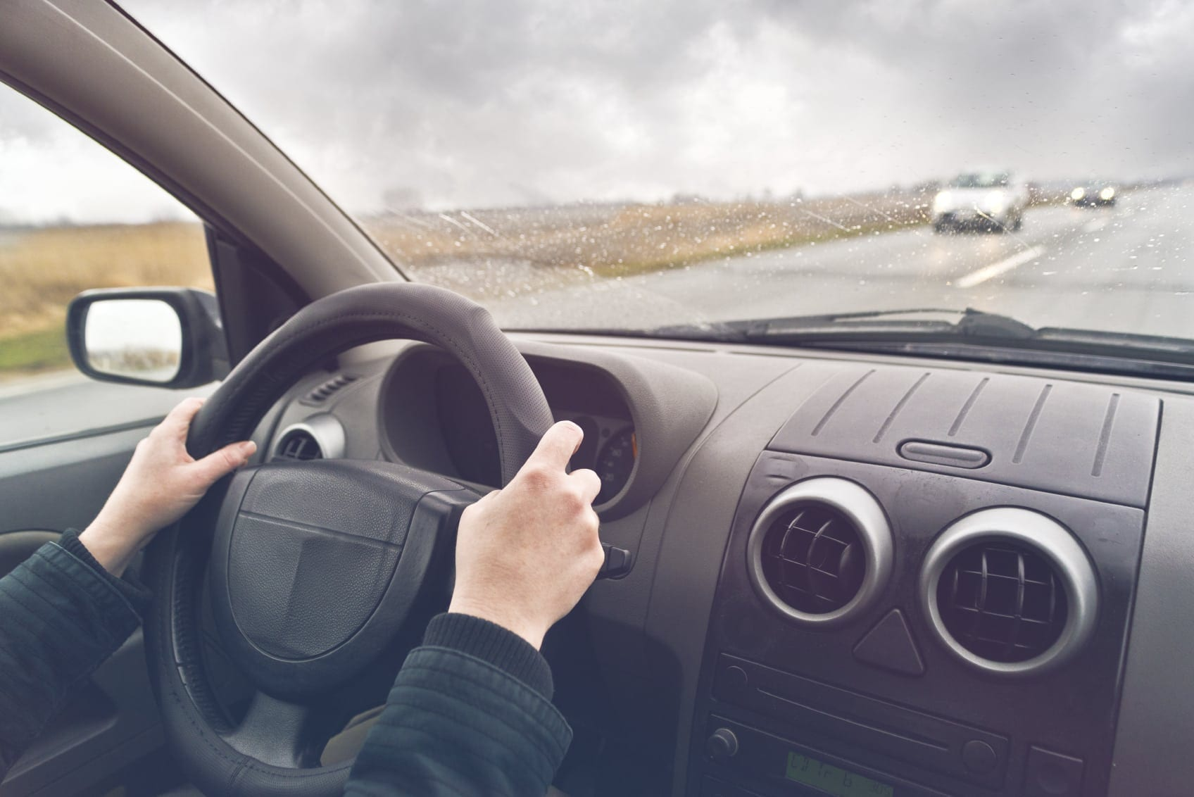 Man Driving Car On The Interstate Stock Photo