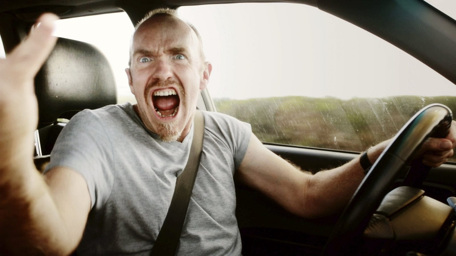 Angry Driver - Road Rage Stock Photo