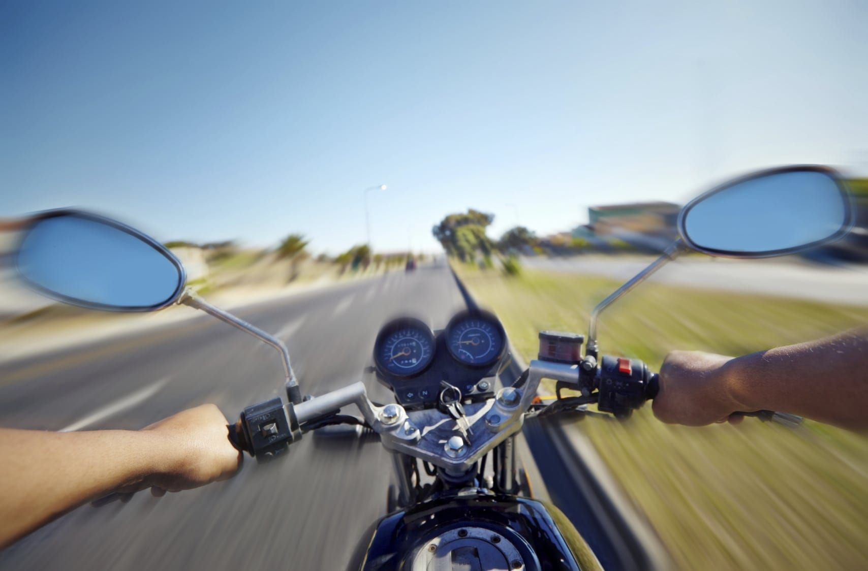 Motorcycle Riding Point Of View Stock Photo
