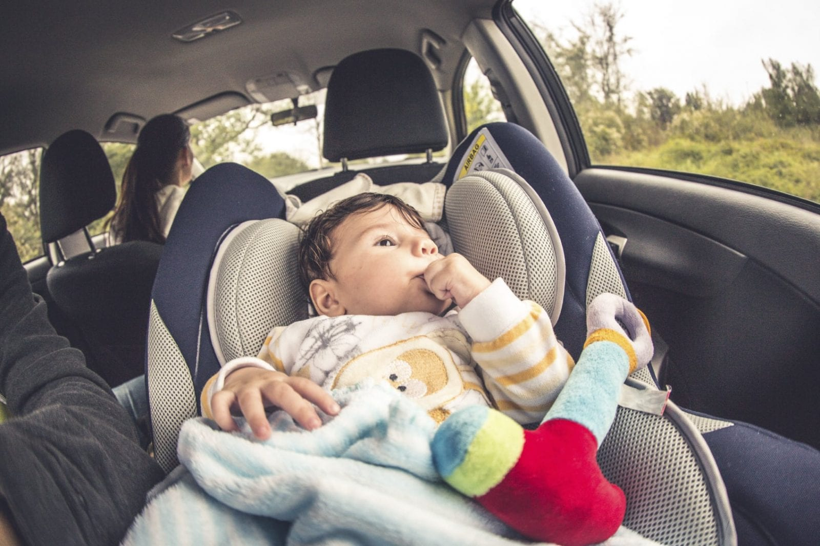 Baby In A Car Seat Stock Photo
