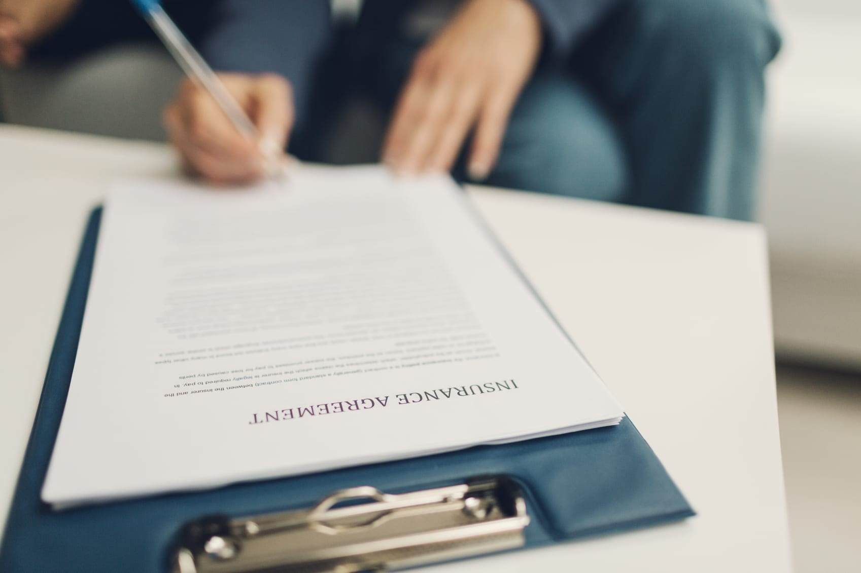Insurance Agreement Form Stock Photo