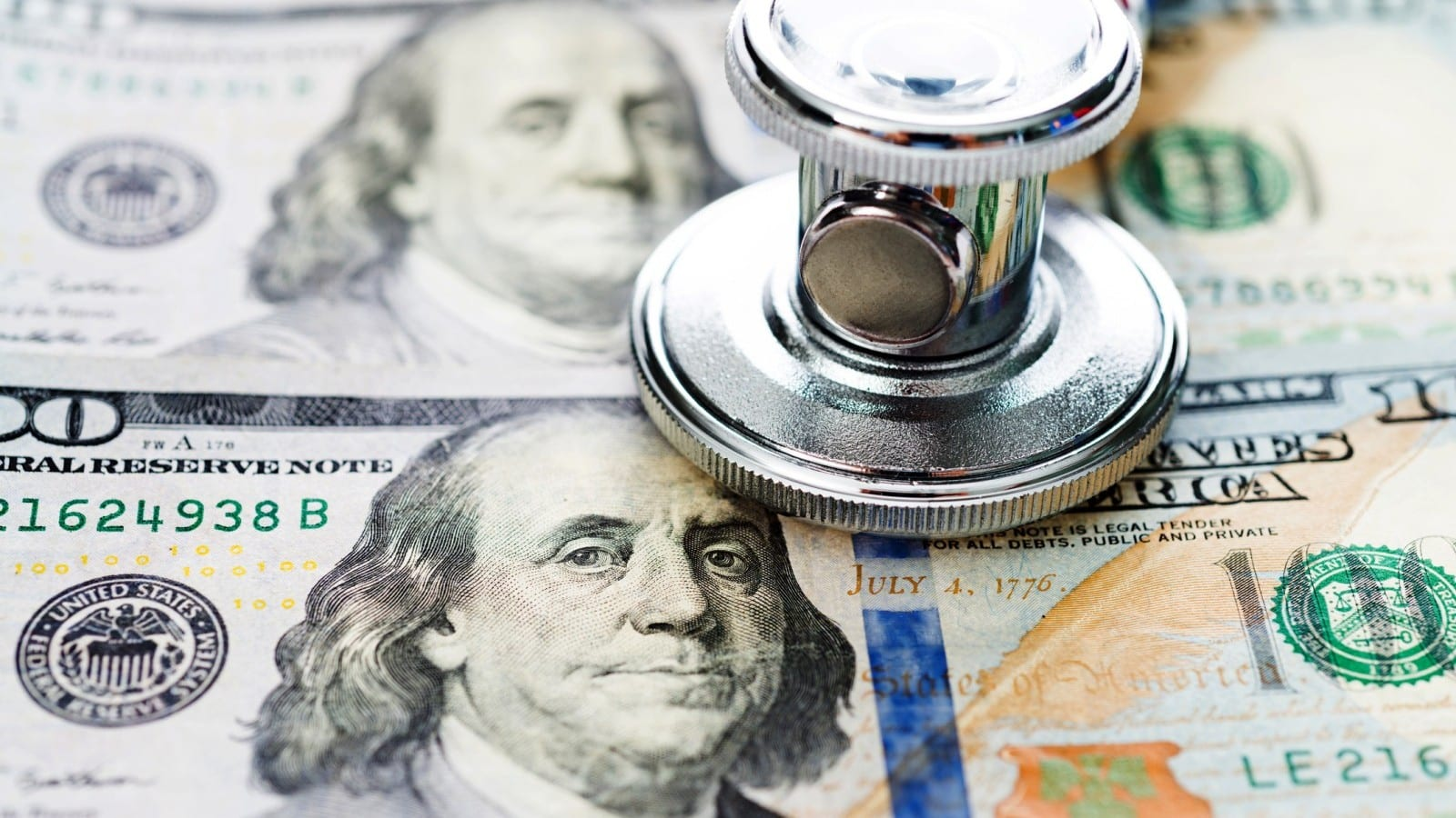 Dollar Bills Stethoscope Stock Photo