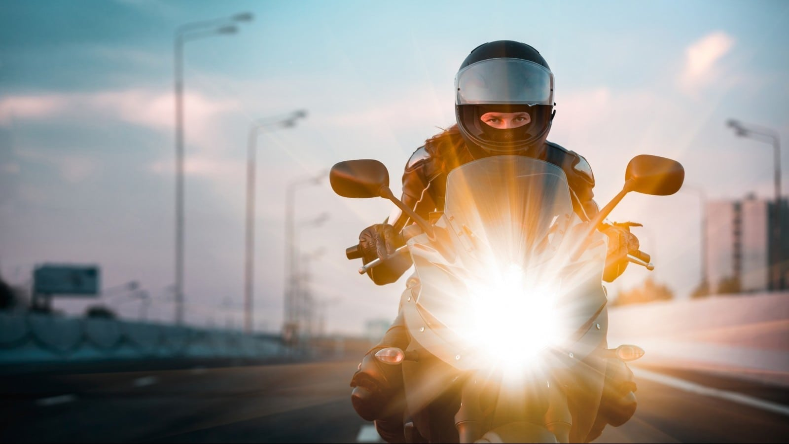 Woman Motorcycle Stock Photo