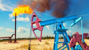 Fire At Oil Drilling Site Stock Photo
