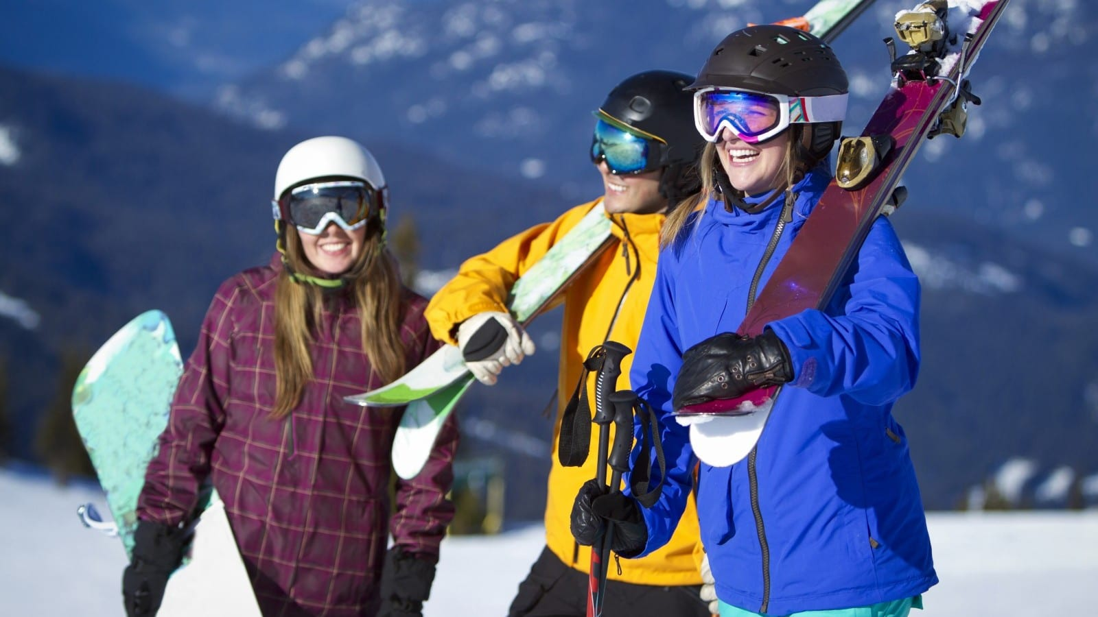 Skiing And Snowboarding Stock Photo