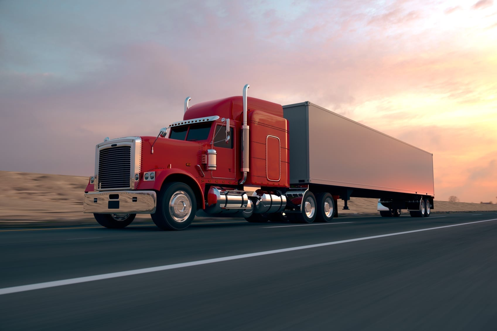 Large Red 18-Wheeler Stock Photo