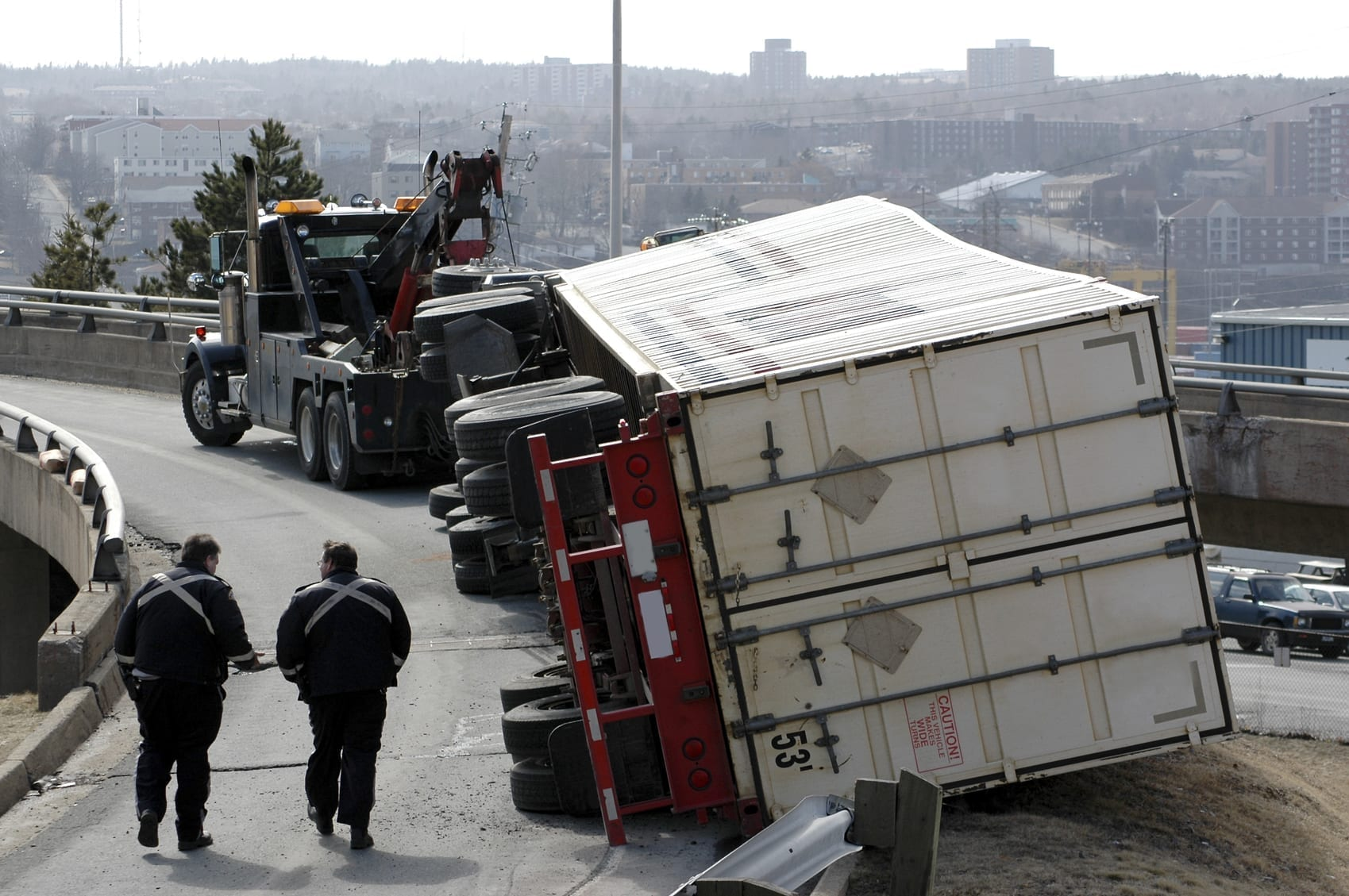 18-Wheeler Accident On A Ramp Stock Photo