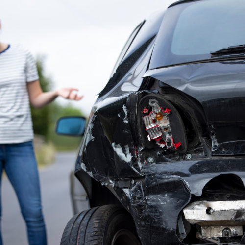a woman calling a car accident lawyer after an accident in Odessa, TX