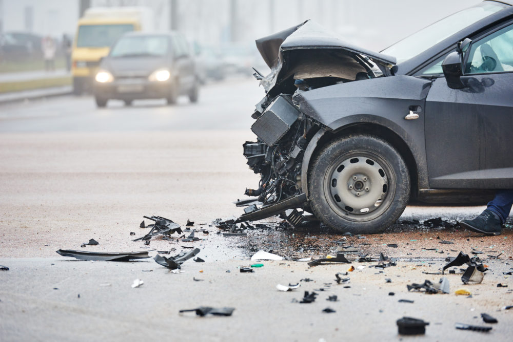 the scene of an Odessa, TX car accident