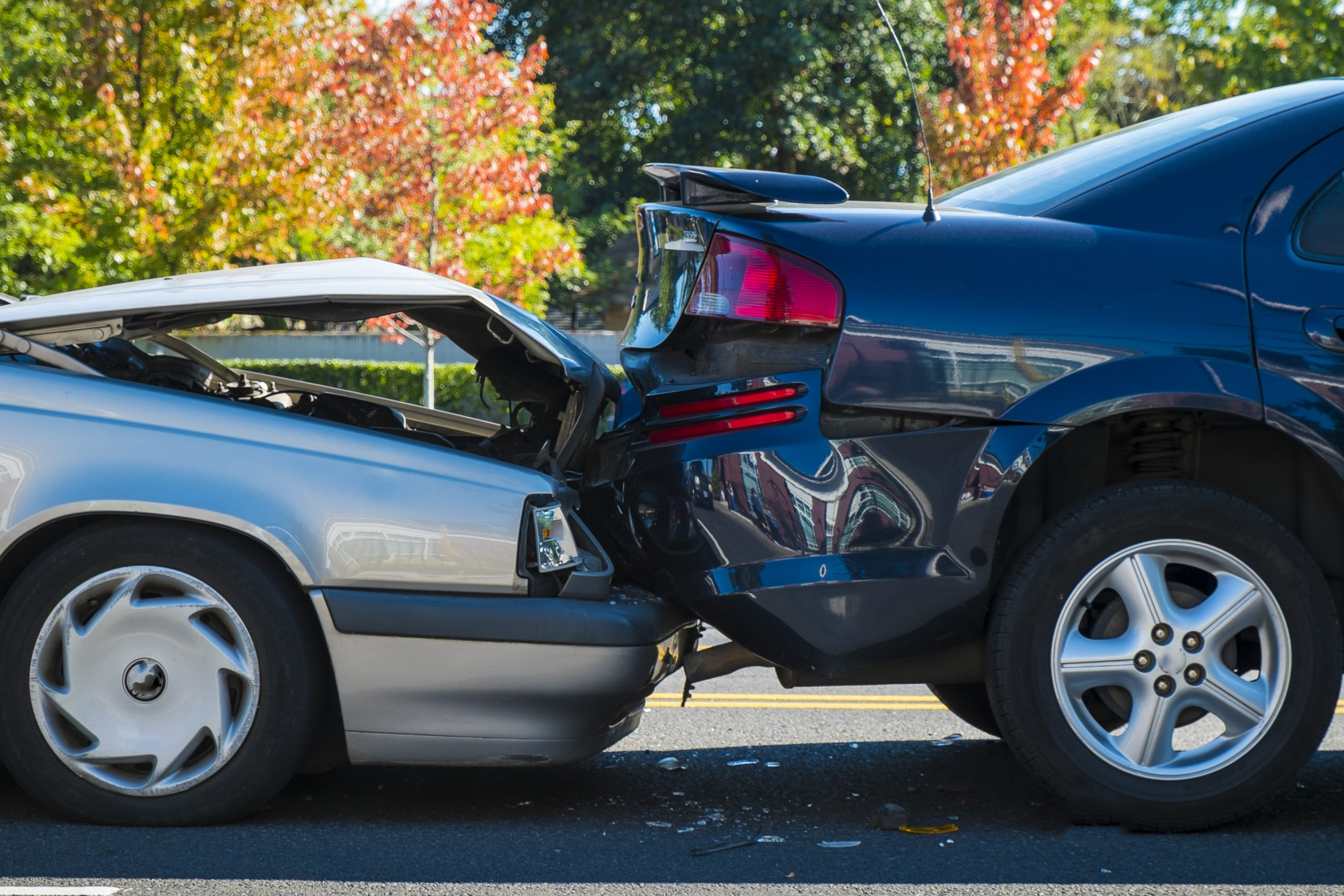 Two cars after a rear-end collision in Odessa.